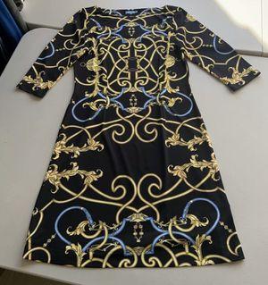 J McLaughlin Catalina Cloth Chain Buckle Print Dress Black Blue Gold Size Small for Sale in Royal Palm Beach, FL