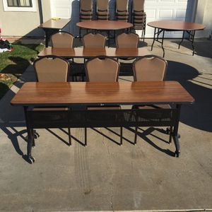 Includes 2 Tables And 6 Chairs Flip and Stow Mobil Training Tables With Privacy Panel. for Sale in Murrieta, CA