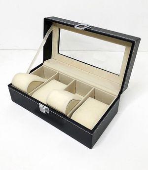 "(NEW) $10 Watch Display Case 4 Slot Leather Box Top Glass Jewelry Storage Organizer 8x4x3"" for Sale in Whittier, CA"