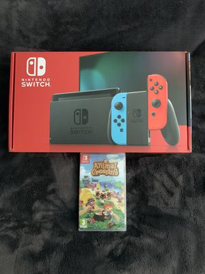 Nintendo Switch Console Neon Blue & Red Joy-Con with Animal Crossing Game Bundle for Sale in Los Angeles, CA