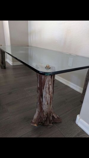 Custom made glass table with real wood legs 18 inches high, $125 , 72x30, 3/4 thick, worry free for Sale in Scottsdale, AZ