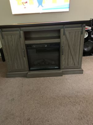 Tv Stand with Electric Fireplace with Sliding Barn Door in Ash with Black Top for Sale in Atlanta, GA
