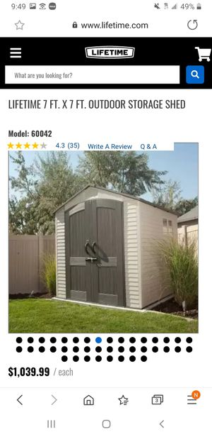 Brand new in box...Lifetime 7 ft x 7 ft storage shed for Sale in Houston, TX
