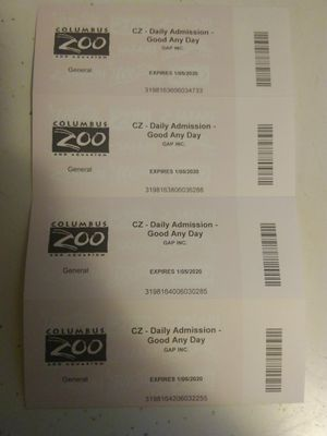 (4) Columbus Zoo Tickets w/ Parking Pass for Sale in Lancaster, OH