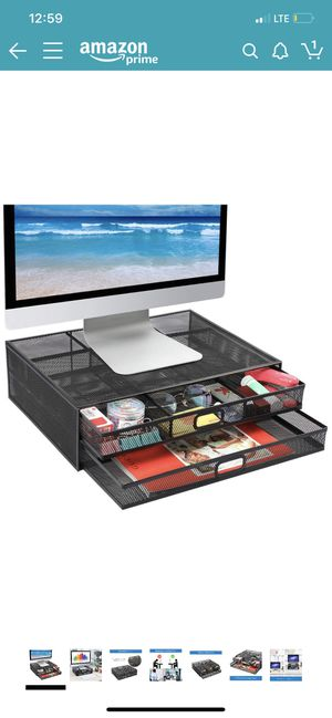 Monitor Stand Riser with Drawer - Mesh Metal Desk Organizer PC, Laptop, Notebook, Printer Holder with Pull Out Storage Drawer for Sale in Los Nietos, CA