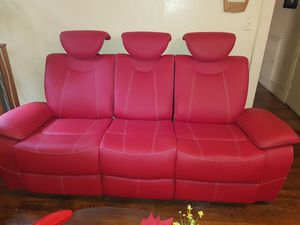 Reclining sofa and loveseat. 60 inch led tv and Samsung sound bar and Wireless subwoofer for Sale in The Bronx, NY