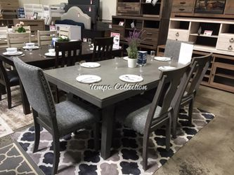 New 6 pcs Dining Set with Bench, Grey, SKU# PDX2480TC for Sale in Santa Fe Springs,  CA