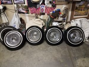 13x7 100 spoke wire rims crown lowrider white wall tires 5 lug universal adapters firm on price for Sale in Dinuba, CA