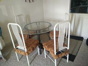 Round Glass Table with 4 Chairs for Sale in Quincy, MA