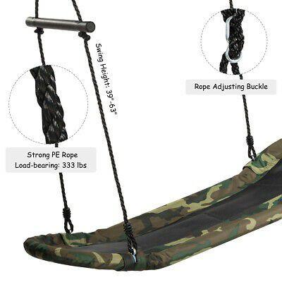 Adjustable Oval Platform Swing Set w/ Handle for Kids Outdoor Fun
