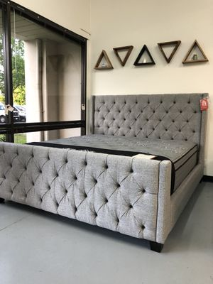 New Gray Fabric Bed Frame : Full • Queen • King • Cal King : Mattress Set Sold Separately : Box Spring Required for Sale in Oakland, CA