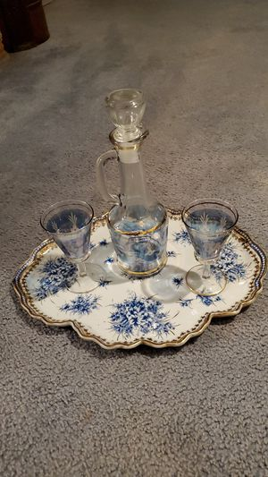 Decanter vintage crystal blue cut to clear for Sale in Livingston, CA