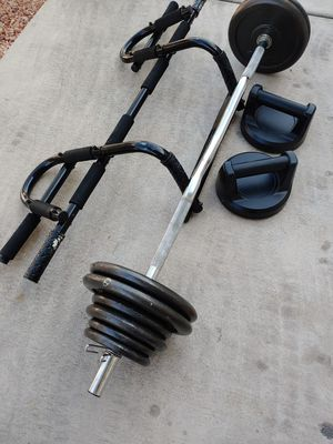 Curl bar w/70 lbs & other exercise equipment for Sale in Phoenix, AZ