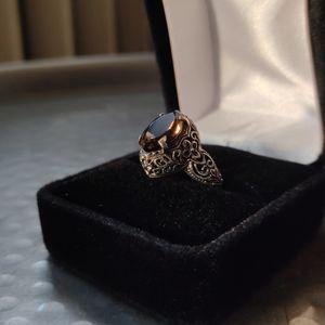 Vintage antique filigree smokey quartz solitaire ring - size 8.5 (8 1/2) - sterling silver for Sale in Denver, CO