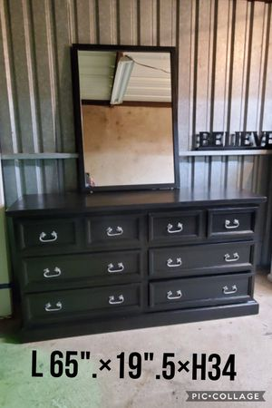 Dresser TV media entryway table refinished black and silver pulls all wood for Sale in Cedar Hill, TX