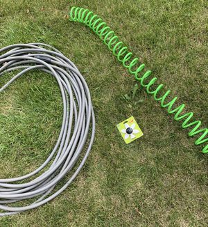 3 piece hose lot! 104' grey hose, 60' cooled hose (slinks down to just 2'!) + brand new flower sprinkler head!! for Sale in Long Grove, IL