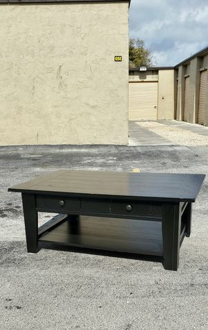 """Black Wood Coffee Table or Tv Stand w/ Two Drawers & Large Bottom Shelf from Pier 1 that's in Very Good condition! Dimensions: 50""""W x 32""""L x 20""""H for Sale in Boca Raton, FL"""