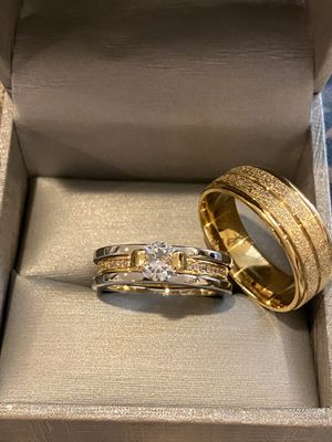 Beautiful Matching Ring Set— 18K Gold plated Rings for Sale in Boston, MA