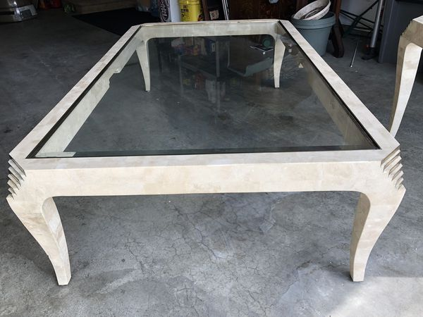 Glass topped & marble coffee table & matching end table