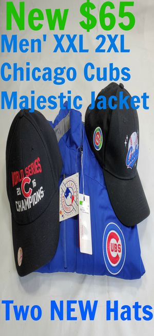 NEW Chicago Cubs Men's XXL 2XL Zipper Jacket & 2 New Hats Jordan for Sale in Willowbrook, IL