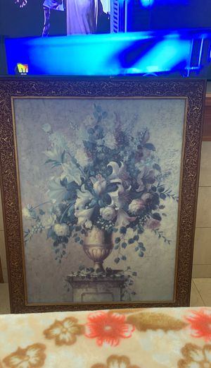 Large flower pot painting with unique wood frame for Sale in Sterling Heights, MI
