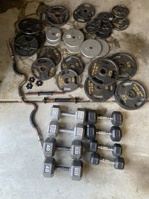 Bench, Dumbbells, weights, bars for Sale in Thornton, CO