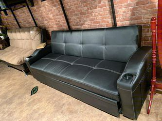 🥂🥂 $39 Down Payment. 🥂Easton Futon Sofa Bed with Cup Holders for Sale in Beltsville,  MD
