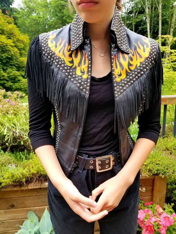 Leather Flame Vest