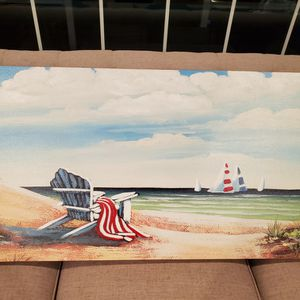 Large Beach Canvas Picture Of Chair And Sailboat for Sale in Penndel, PA