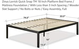 Zinus Lorrick Quick Snap 18in Platform Bed Frame Full for Sale in Canal Winchester, OH