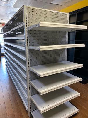 White Retail Metal Shelving Gondolas, Double Sided w/ end caps for Sale in Upland, CA