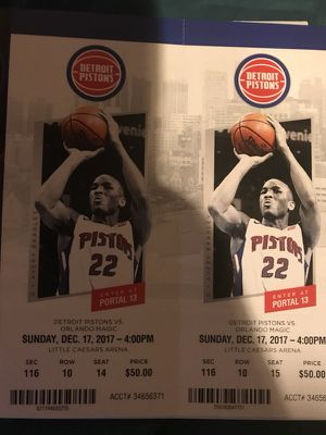 Detroit Pistons vs Orlando Magic Sunday 12/17 for Sale in Detroit, MI