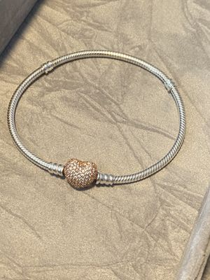 Pandora Bracelet Silver with Rose Gold charms and clasp for Sale in Philadelphia, PA