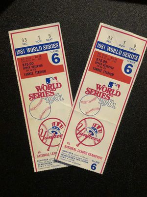 Vintage '81 World Series Tickets (2) for Sale in Matamoras, PA