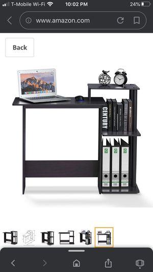 FURINNO Efficient Home Laptop Notebook Computer Desk, Square Side Shelves, Dark Walnut for Sale in Riverside, CA
