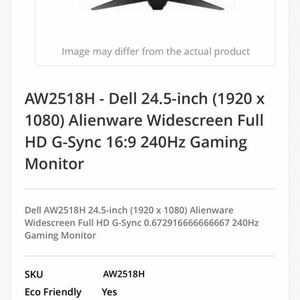 Alienware 25 Gaming Monitor - AW2518H NVIDIA G-Sync 240Hz Refresh 1ms response time for Sale in Miami, FL