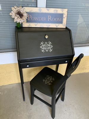 Antique Wood Desk with Old Wood Chair Could be used as a Vanity or Entry Way Accent Decor Piece for Sale in Seminole, FL