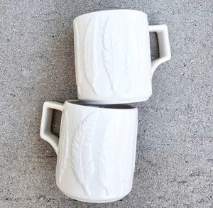 (2) Ceramic Mugs with Embrossed Feathers Design Boho Kitchen Home Decor for Sale in Tujunga, CA