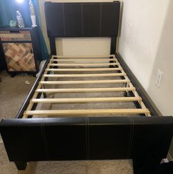 TWIN LEATHER BED FRAME for Sale in Frederick,  MD