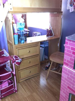 Twin over twin bunk beds with drawers & desk & chair for Sale in Santee, CA