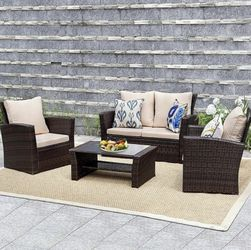 4 Pieces Outdoor Patio Furniture Sets Sectional Sofa Rattan Chair Wicker Set for Sale in Austin,  TX