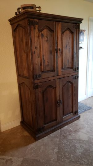 Antique solid wood cabinet/ hutch. Solid, double hinged doors that open fully to the sides. for Sale in Delray Beach, FL