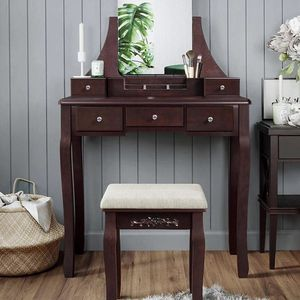 Vanity Table Set with Large Frameless Mirror, Makeup Dressing Table Set for Bedroom, Bathroom, 5 Drawers and 1 Removable Storage Box, Cushioned Stool for Sale in Eastvale, CA