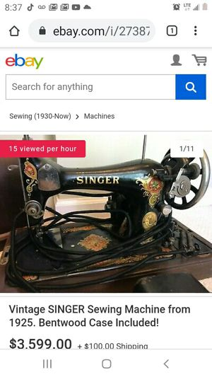 1925 singer red eye sewing machine for Sale in Wichita, KS