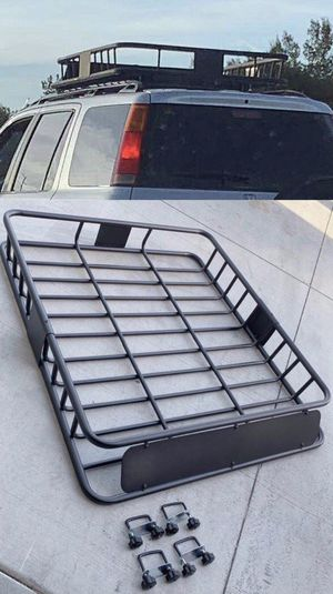 New in box 250 lbs capacity 47x40x7 inches roof basket travel cargo carrier storage rack for suv car 4 mounting brackets included for Sale in Los Angeles, CA