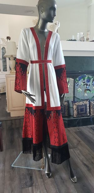White Chiffon Abaya / Kaftan / Thobe with red Embroidery Modern Style with black Fringe from the bottom for Sale in Orlando, FL