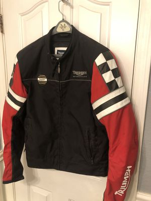 Authentic padded triumph motorcycle jacket size large for Sale in Dixon, CA