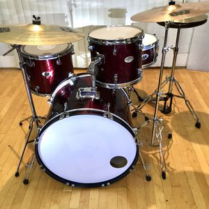 """Red Jazz Drum Set Rogers 22"""" Bass Ddrum Snare And 14"""" Floor Pearl Tom Sabian Meinl Cymbals Throne Sticks Good Condition $250 in Ontario 91762 for Sale in Chino, CA"""