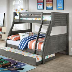 GRAY PLANK PANEL DESIGN TWIN OVER FULL SIZE BUNK BED TRUNDLE / LITERA for Sale in Downey,  CA