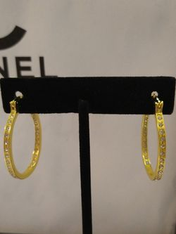 14k Yellow Gold Diamond Hoop Earrings for Sale in Albuquerque,  NM